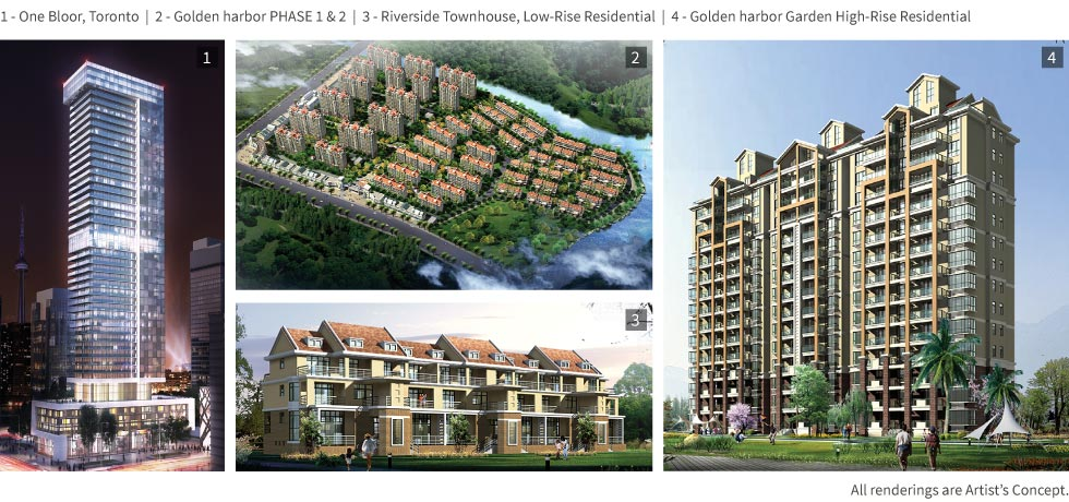 1 - One Bloor Toronto. 2 - Golden Harbor. 3 - Riverside Townhouse. 4 - Golden Harbor Garden High-rise.